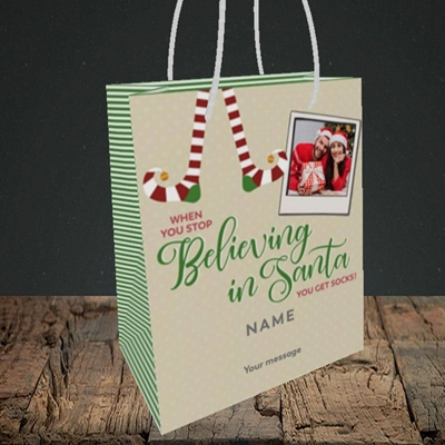 Picture of Believing In Santa, Christmas Design, Small Portrait Gift Bag
