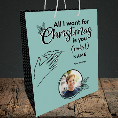 Picture of Naked Christmas, Christmas Design, Medium Portrait Gift Bag