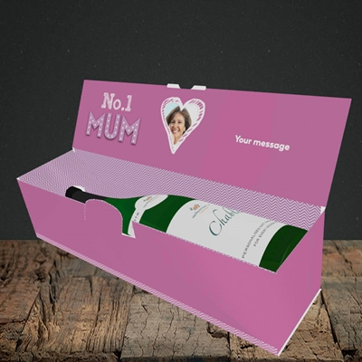 Picture of No.1 Mum (In Lights), Mother's Day Design, Lay-down Bottle Box
