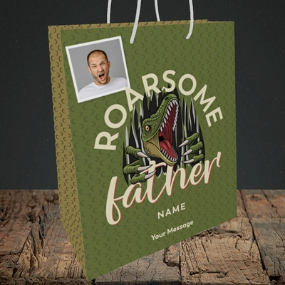 Picture of Roarsome Father, Father's Day Design, Medium Portrait Gift Bag