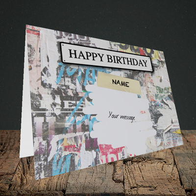 Picture of Graffiti, (Without Photo) Birthday Design, Landscape Greetings Card