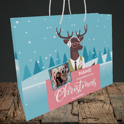 Picture of Countdown, Christmas Design, Medium Landscape Gift Bag