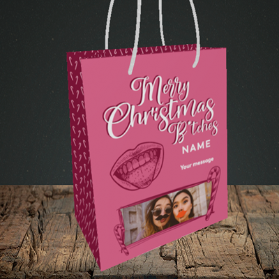 Picture of Merry Christmas Bitches, Christmas Design, Small Portrait Gift Bag