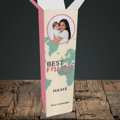 Picture of Best Mum In The World, Mother's Day Design, Upright Bottle Box
