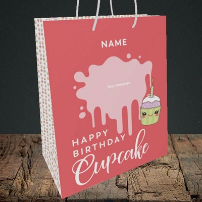 Picture of Cupcake(Without Photo), Birthday Design, Medium Portrait Gift Bag