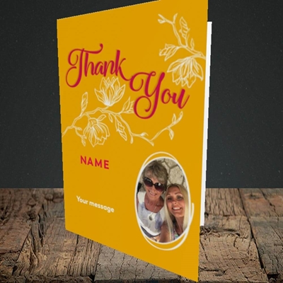 Picture of Flowers, Thank You Design, Portrait Greetings Card