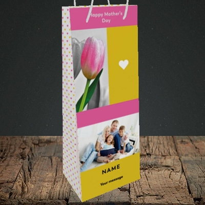 Picture of Mother's Day Tulips, Mother's Day Design, Bottle Bag