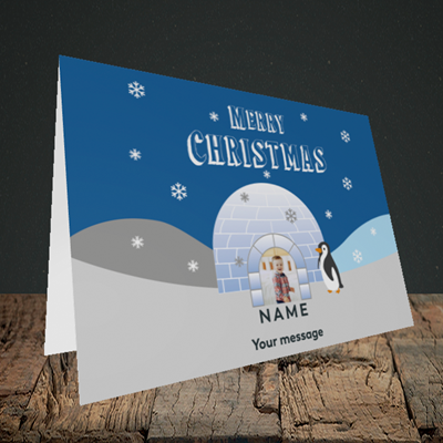 Picture of Igloo Penguin, Christmas Design, Landscape Greetings Card