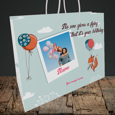 Picture of Fox, Birthday Design, Medium Landscape Gift Bag