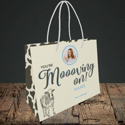 Picture of Moooving On, Leaving Design, Small Landscape Gift Bag