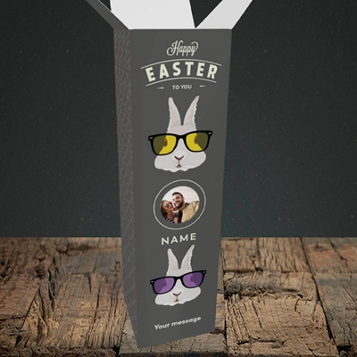 Picture of Hipster Bunnies, Easter Design, Upright Bottle Box