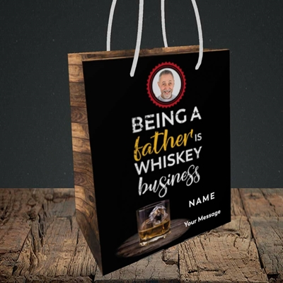 Picture of Whiskey Business, Father's Day Design, Small Portrait Gift Bag