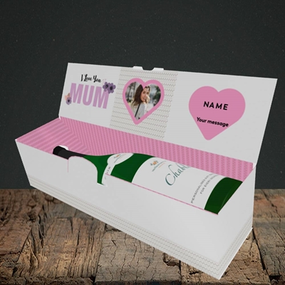 Picture of I Love You Mum, Mother's Day Design, Lay-down Bottle Box