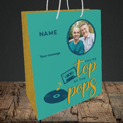 Picture of Top Of The Pops, Father's Day Design, Medium Portrait Gift Bag