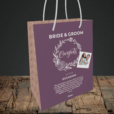 Picture of Wreath Purple B&G, Wedding Design, Small Portrait Gift Bag