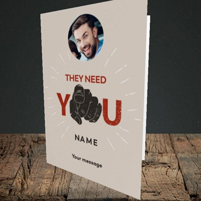 Picture of They Need You, New Job Design, Portrait Greetings Card