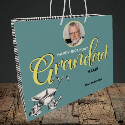 Picture of Grandad Gardening, Birthday Design, Medium Landscape Gift Bag