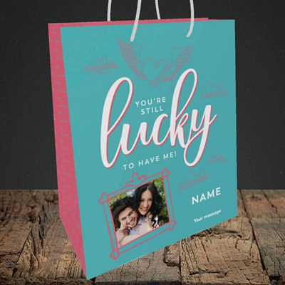 Picture of Still Lucky To Have Me, Anniversary Design, Medium Portrait Gift Bag
