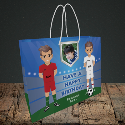Picture of Football, Birthday Design, Small Landscape Gift Bag