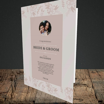 Picture of Floral Strip Edges - Beige To Pink B&G, Wedding Design, Portrait Greetings Card