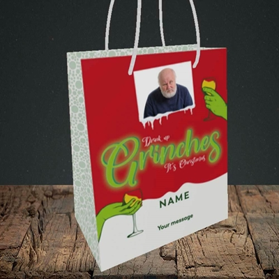 Picture of Drink Up Grinches, Christmas Design, Small Portrait Gift Bag