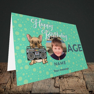 Picture of Boom Box Frenchie, Birthday Design, Landscape Greetings Card