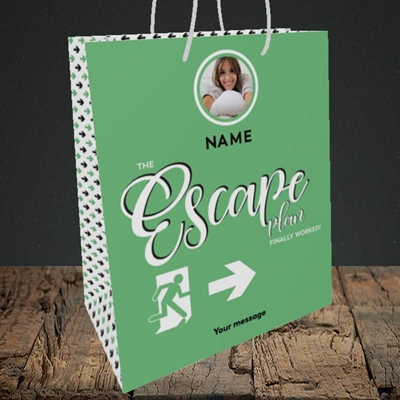 Picture of Escape Plan, Leaving Design, Medium Portrait Gift Bag