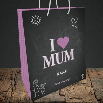 Picture of I Love Mum (Chalk Board),(Without Photo), Medium Portrait Gift Bag