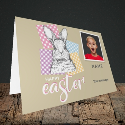 Picture of Patchwork Rabbit, Easter Design, Landscape Greetings Card