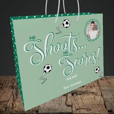 Picture of He Shoots He Scores, Pregnancy Design, Medium Landscape Gift Bag