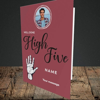 Picture of Well Done High Five, Celebration Design, Portrait Greetings Card