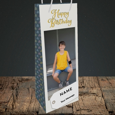 Picture of 1. A Happy Birthday, Large Photo, Birthday Design, Bottle Bag