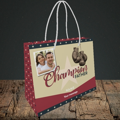 Picture of Champion Father, Father's Day Design, Small Landscape Gift Bag