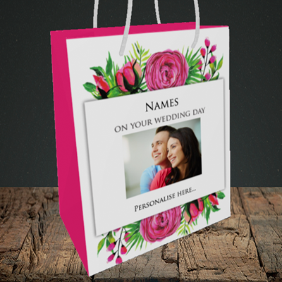 Picture of Flowers, Wedding Design, Medium Portrait Gift Bag