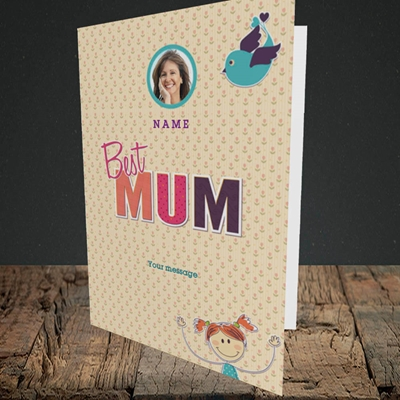 Picture of Best Mum, Portrait Greetings Card
