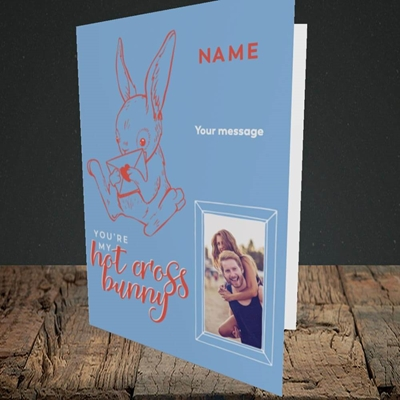 Picture of Hot Cross Bunny, Easter Design, Portrait Greetings Card