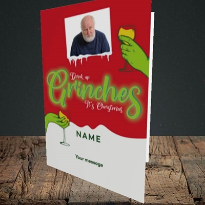 Picture of Drink Up Grinches, Christmas Design, Portrait Greetings Card