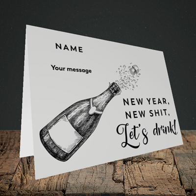 Picture of Let's Drink(Without Photo), New Year Design, Landscape Greetings Card