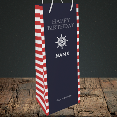 Picture of Nautical, (Without Photo) Birthday Design, Bottle Bag