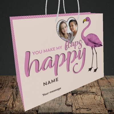 Picture of Happy Flaps, Valentine's Design, Medium Landscape Gift Bag
