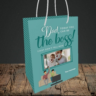Picture of The Boss, Father's Day Design, Small Portrait Gift Bag