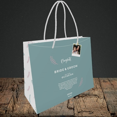 Picture of Peg & Polaroid Teal B&G, Wedding Design, Small Landscape Gift Bag