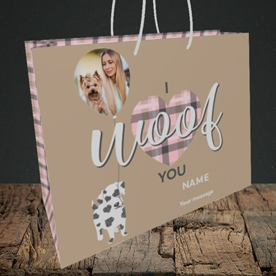 Picture of I Woof You, Valentine's Design, Medium Landscape Gift Bag