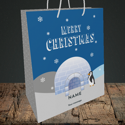 Picture of Igloo Penguin(Without Photo), Christmas Design, Medium Portrait Gift Bag