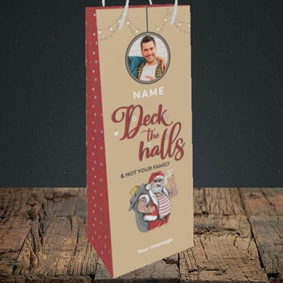 Picture of Deck The Halls Christmas Design, Bottle Bag