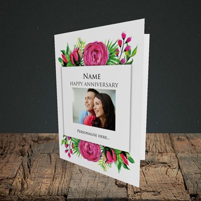 Picture of Flowers, Anniversary Design, Portrait Greetings Card