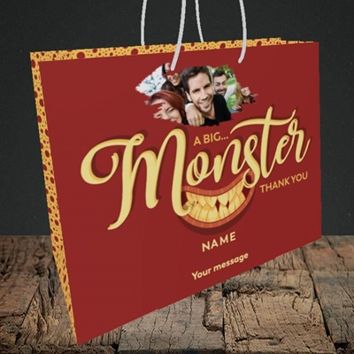 Picture of Monster Thank You, Thank You Design, Medium Landscape Gift Bag