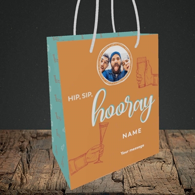 Picture of Hip, Sip, Hooray, Celebration Design, Small Portrait Gift Bag