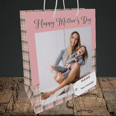 Picture of 1. Large Photo(Chequer), Mother's Day Design, Medium Portrait Gift Bag
