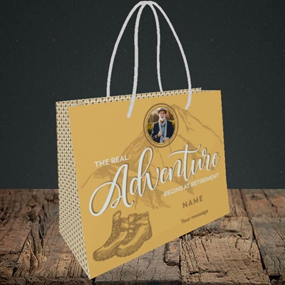 Picture of Adventure Begins, Retirement Design, Small Landscape Gift Bag